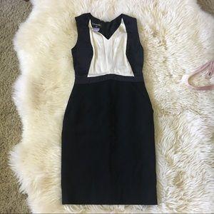 Chanel 09C Black ivory stain wool sheath dress 36